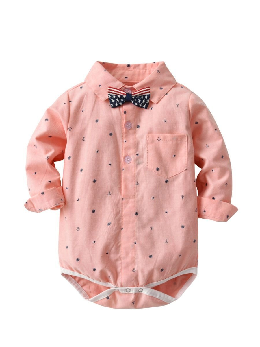 Spring Summer Full Print Baby Boy Romper Onesie with Bowtie