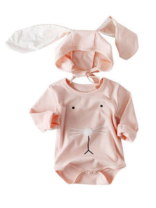 Spanish Style Baby Easter Clothes Set Long Sleeve Cotton Romper+Bunny Ear Detachable Hat