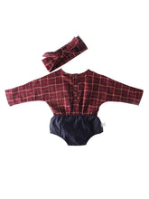Load image into Gallery viewer, Baby Girl Checked Patchwork Romper with Bow Headband