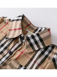 British Style Top Big Boy Classic Plaid Cotton Casual Shirt for Summer