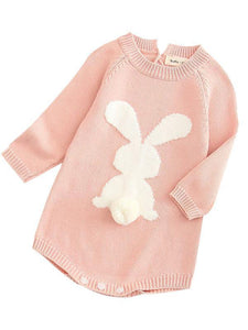 3D Bunny Pattern Knit Onesie Easter Spanish Style Baby Clothes Spring