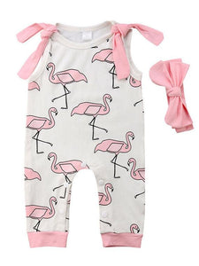Cartoon Red-crowned Crane Sleeveless Jumpsuit Overalls with Pink Headband