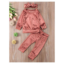 Load image into Gallery viewer, 3-piece Pink Outfits Set Indoor Solid Color Velvet Clothes Pullover and Pants and Headband