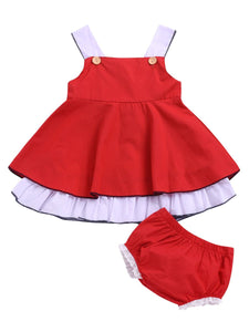 2-Piece Baby Girl Suspender Dress + Lace Bread Pants
