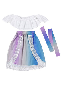 Stylish Infant Little Girl Clothes White Off Shoulder Top+ Lace Colorful Skirt+Headband Outfits