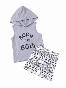 Baby Little Boy Outfits Hooded Tank Top+Printed Shorts