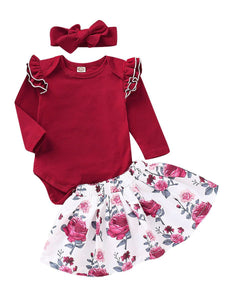 3-Piece Outfits Long Flutter Sleeve Bodysuit+Flower Skirt+Red Bow Headband Spring Baby Girl Clothes