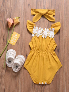 Outfits Set Lace Trimmed Flutter Sleeve Baby Girls Bodysuit+Headband 2-Piece Summer
