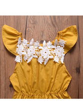 Load image into Gallery viewer, Outfits Set Lace Trimmed Flutter Sleeve Baby Girls Bodysuit+Headband 2-Piece Summer