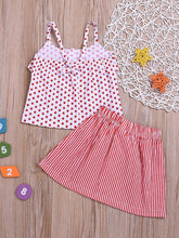 Load image into Gallery viewer, Fashion Toddler Girl Clothes Red Polka Dots Suspender Top+Bow Stripe Skirt Outfit Sets 2-Piece
