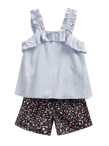 2-Piece Little Big Girl Clothes Outfit Ruffle Suspender Top Matching Floral Shorts