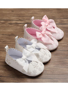 Bow Flower Embroidery Baby Girl Shoes Pink/White
