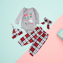 Load image into Gallery viewer, 4-Piece Xmas Theme Baby Outfits Bodysuit and Pants and Hat and Headband