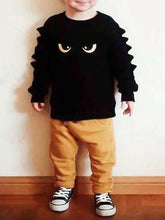 Load image into Gallery viewer, Cartoon Style Baby Little Boys 2-piece Outfit Black Sweatshirt Jumper+Yellow Pants
