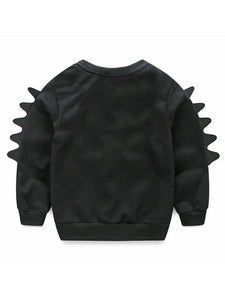Cartoon Style Baby Little Boys 2-piece Outfit Black Sweatshirt Jumper+Yellow Pants
