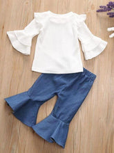 Load image into Gallery viewer, 2-Piece Autum Fashion Baby Toddler Girl White Flare & Flutter Sleeve Top + Blue Bell-Bottoms Pants