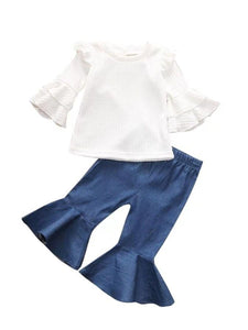 2-Piece Autum Fashion Baby Toddler Girl White Flare & Flutter Sleeve Top + Blue Bell-Bottoms Pants