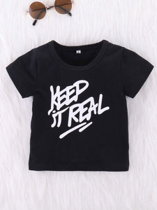 2-Piece Outfit Baby Little Boy KEEP IT REAL Black T-shirt + Camo Trousers