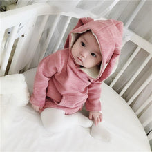 Load image into Gallery viewer, Adorable Baby Bunny Ear Solid Color Hooded Onesie