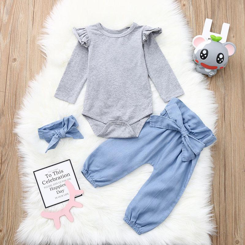 3-piece Casual Clothes Set Flutter Sleeve Grey Bodysuit and Big Bow Blue Pants and Headband