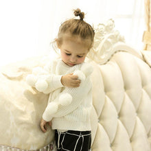 将图片加载到图库查看器,Cute Pom-pom Decor White Knitted Jumper