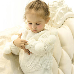 Cute Pom-pom Decor White Knitted Jumper