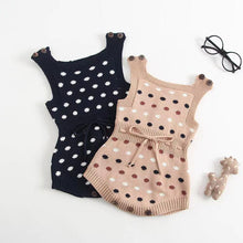 Load image into Gallery viewer, Dots Knitted Sleeveless Bodysuit Cotton Romper
