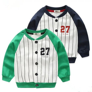 5 Colors Stylish 27 Print Buttoned Striped French Terry Jacket Long Sleeve Toddler Kids Sportswear