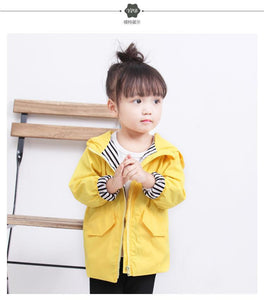 Fashion Duck Style Clothes Wind Rain Jacket Zip Light Hooded Coat For Baby Little Boys Girls Kids