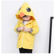 Load image into Gallery viewer, Fashion Duck Style Clothes Wind Rain Jacket Zip Light Hooded Coat For Baby Little Boys Girls Kids