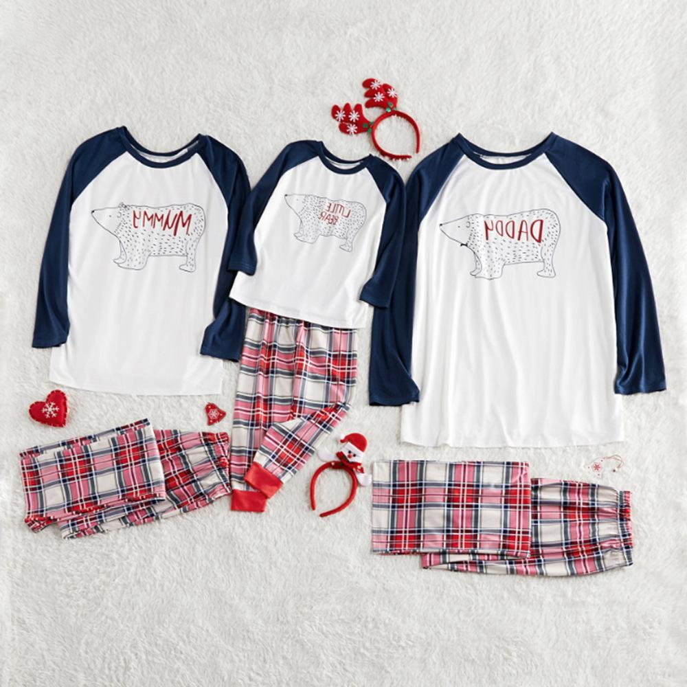 Family Matching 2-Piece Outfits Bear Checked Pajamas