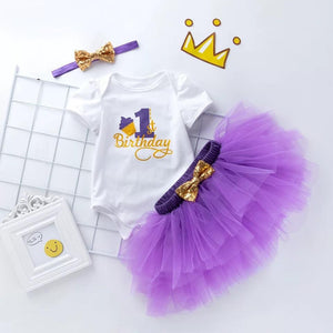 Infant Toddler Girl 1st Birthday Tutu Pettiskirt Outfit Romper and Tutu Skirt and Bowknot Headband