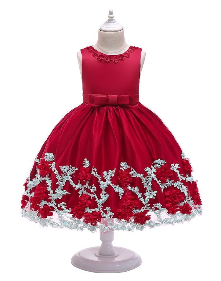 6 Colors Flower Trimmed Bow Belted Mesh Princess Dress Bodice Infant Occasional Party Wear