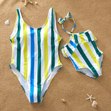 Load image into Gallery viewer, Mommy and Me Striped Color Blocking One Piece Swimming Wear