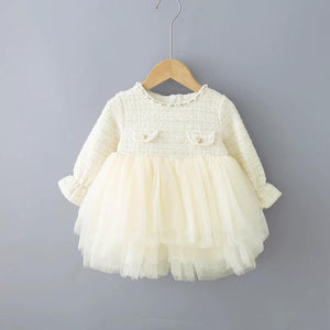 Spring Baby Toddler Girl Beading Mesh Patchwork Dress
