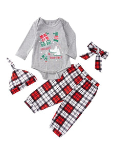 4-Piece Xmas Theme Baby Outfits Bodysuit and Pants and Hat and Headband