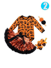 Load image into Gallery viewer, 4-piece Halloween Baby Girls Romper+Pettiskirt+Headband+Shoes/Leggings
