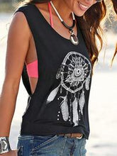 Load image into Gallery viewer, Casual Scoop Neck Sleeveless Printed Top - Luckinchic