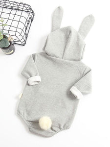 Adorable Baby Bunny Ear Solid Color Hooded Onesie