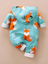 Load image into Gallery viewer, Adorable Baby Fox Hooded Zip Jumpsuit