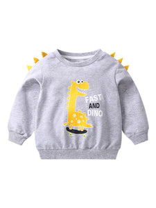 Toddler Baby Cool Fast and Dino Dinosaur Printed Pullover 3 Colors