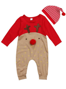 Baby 2-Piece XMAS Deer Style Jumpsuit Matching Hat