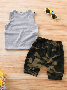 Baby Boy 2-Piece Outfits MR.STEAL YOUR GIRL Tank Top+Camo Pants