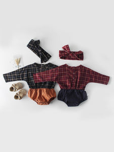 Baby Girl Checked Patchwork Romper with Bow Headband