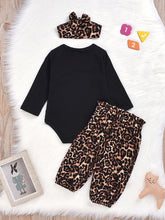 Load image into Gallery viewer, Baby Girl 3-Piece Mama's Bestie Leopard Print Set Onesie+Pants+Headband