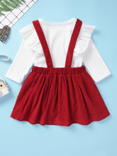 Load image into Gallery viewer, Adorable 2-Piece Baby Girl Solid Color Ruffle Romper Skirt Set