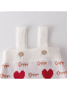 Cute Baby Love Heart Key Knitted Romper
