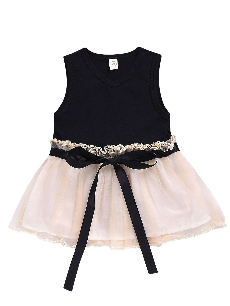 Bow Mesh Sleeveless Dress for Summer Infant Little Girl