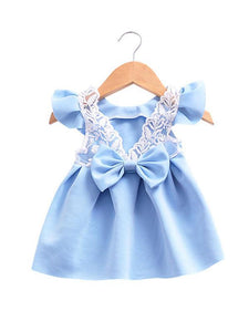 Bow Pierced Laced Princess Dress For Baby Toddler Girls