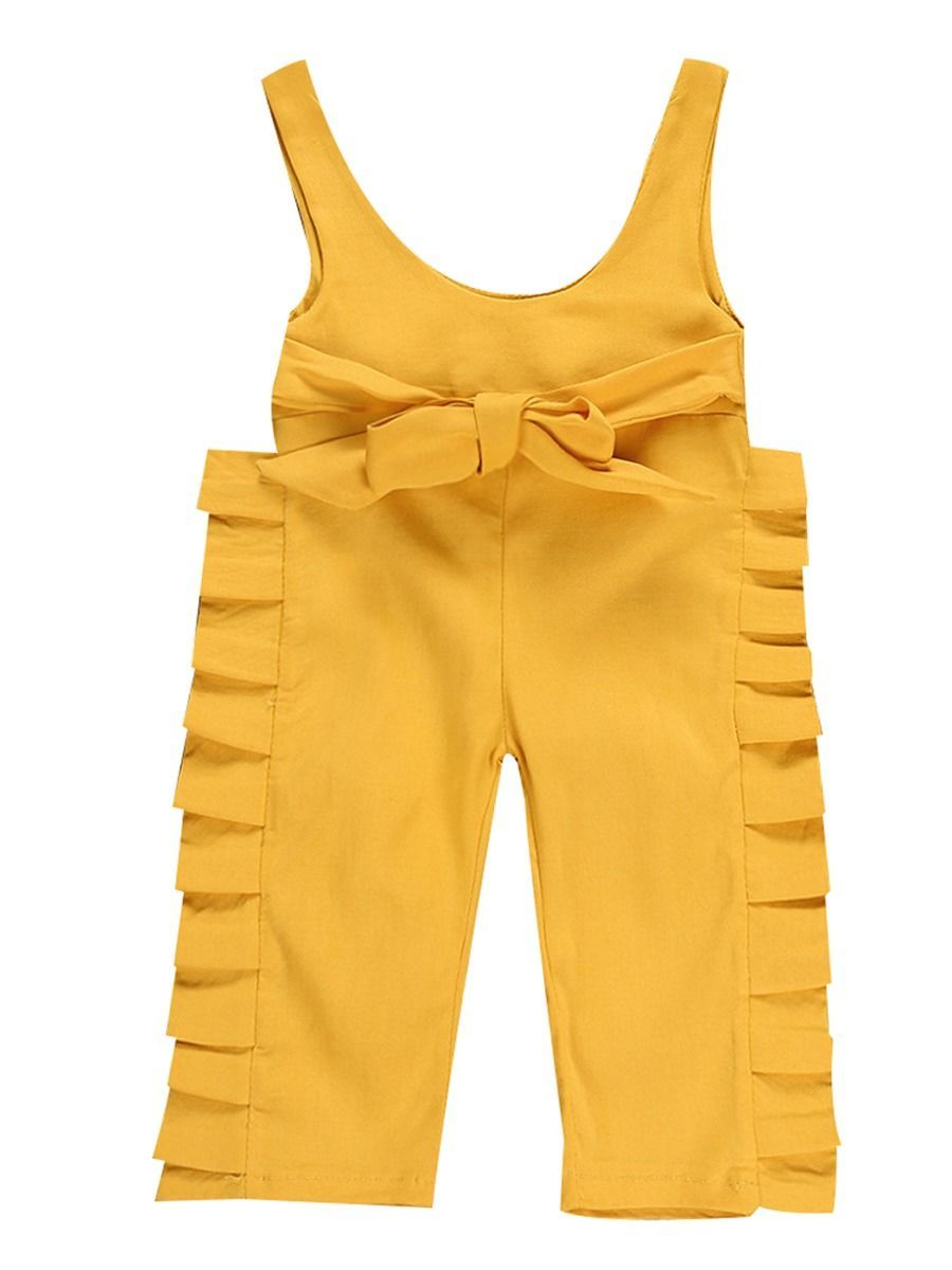 Trendy Baby Little Girl Bow Yellow Suspender Pants Overall